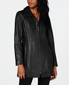 Stand-Collar Leather Coat
