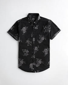 Hollister Poplin Slim Fit Shirt, BLACK FLORAL