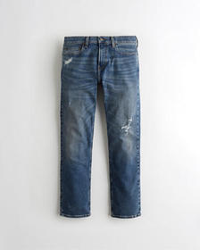 Hollister Classic Straight Jeans, RIPPED DARK WASH