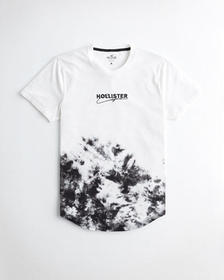 Hollister Tie-Dye Logo Graphic Tee, WHITE AND BLAC