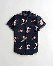 Hollister Stretch Poplin Slim Fit Shirt, NAVY FLOR