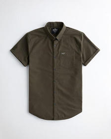 Hollister Stretch Oxford Slim Fit Shirt, OLIVE
