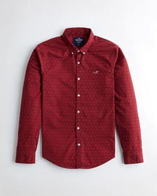 Hollister Stretch Oxford Slim Fit Shirt, BURGUNDY