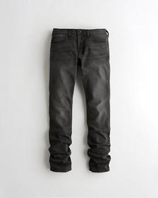 Hollister Stacked Slim Straight Jeans, WASHED BLAC