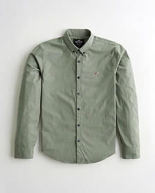 Hollister Stretch Poplin Slim Fit Shirt, OLIVE