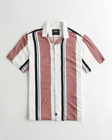 Hollister Hollister Summer Shirt, DARK PINK STRIPE