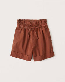 Twill Paperbag Shorts, PAPRIKA RED