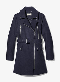 Michael Kors Wool Blend Zip Front Coat