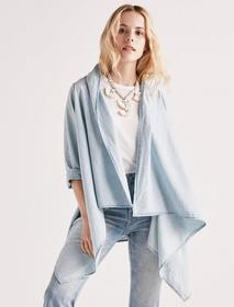 Lucky Brand Knotted & Draped Chambray Top