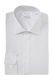 Calvin Klein Grid Print Slim Fit Dress Shirt