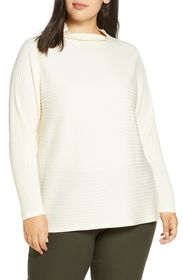 Eileen Fisher Funnel Neck Merino Wool Sweater