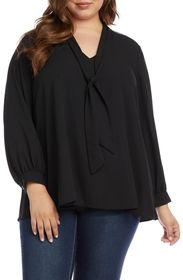 Karen Kane Sparkle Tie Neck Top (Plus Size)