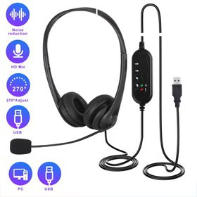 USB Headset with Microphone, 3.5mm Noise Cancellin