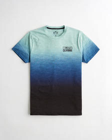 Hollister Ombré Print Logo Graphic Tee, HEATHER MI