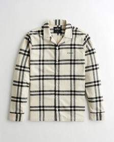 Hollister Flannel Camp Shirt, TAN PLAID