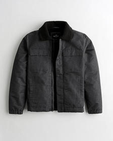 Hollister Sherpa-Lined Coach Jacket, DARK GREY PAT