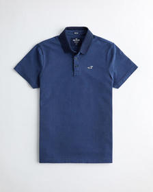 Hollister Stretch Patterned Polo, NAVY PATTERN