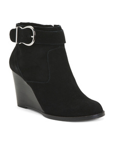 SOLE SOCIETY Suede Buckle Wedge Booties