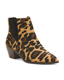 SOLE SOCIETY Leopard Haircalf Double Booties