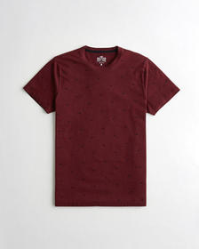 Hollister Must-Have Crewneck T-Shirt, BURGUNDY ICO