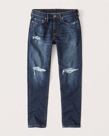 Ripped Athletic Skinny Jeans, DARK RIPPED WASH