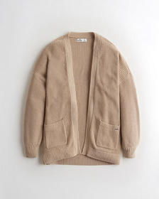 Hollister Easy Textured Cardigan, BROWN