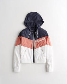 Hollister Colorblock Hooded Full-Zip Windbreaker,