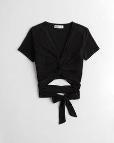 Hollister Twist-Front Wrap Crop Top, BLACK