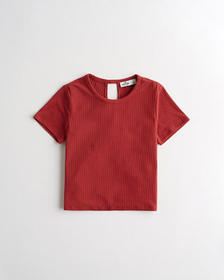 Hollister Ribbed Twist-Back T-Shirt, RUST