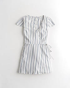Hollister Wrap-Front Romper, WHITE STRIPE