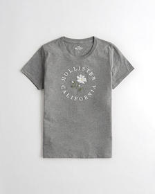 Hollister Daisy Embroidered Graphic Tee, GREY