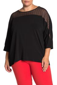 T Tahari 3/4 Sleeve Mesh Crew Neck Top (Plus Size)