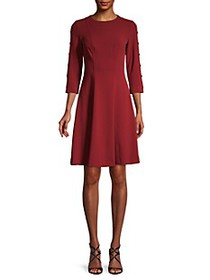 Tommy Hilfiger Button-Sleeve Fit-&-Flare Dress
