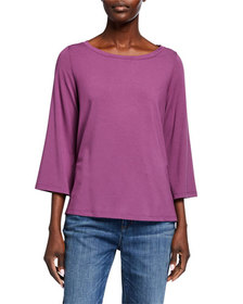 Eileen Fisher Boat-Neck 3/4-Sleeve High-Low Jersey