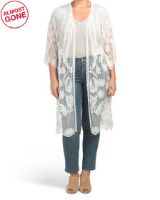 Plus Embroidered Duster Cardigan