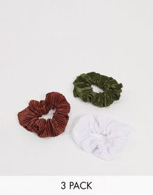 ASOS DESIGN pack of 3 plisse scrunchies in brown k