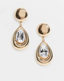 ASOS DESIGN earrings with crystal jewel teardrop i