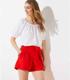 Tie Waist Stretch Pull On Shorts