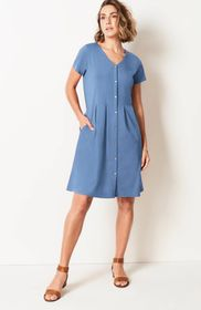 Pleated Button-Front Knit Dress
