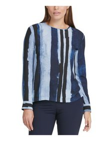 DKNY Womens Blue Striped Crew Neck Blouse Wear To