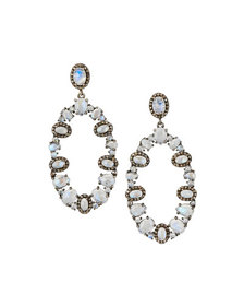Bavna Aquamarine Open Oval-Drop Earrings with Diam
