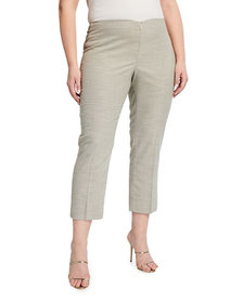 Neiman Marcus Plus Size Lisa Woven Ankle Pants