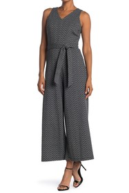 T Tahari Chevron Sleeveless Tie Waist Jumpsuit