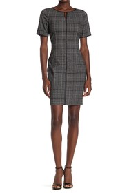 T Tahari Windowpane Plaid Sheath Dress
