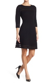 T Tahari Crew Neck Fit & Flare Sweater Dress