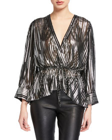 Iro Darla Metallic V-Neck Blouse