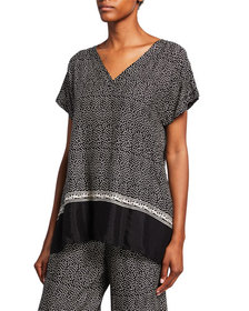 Masai Elvira Polka Dot V-Neck Short-Sleeve Shantun