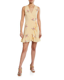 Rails Madison Floral Linen Flounce Wrap Dress
