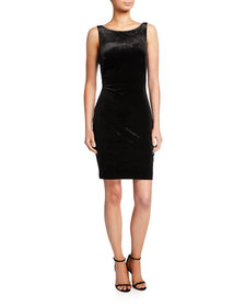 Love, Theia Sleeveless Twist-Back Velvet Dress