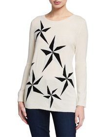 Neiman Marcus Cashmere Collection Metallic Star Cr